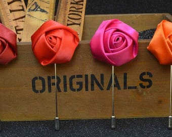 20 Pcs Satin Rose Men's Suit  Wedding Boutonniere Brooch Pins