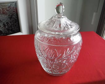 ANCHOR HOCKING SANDWICH clear glass cookie jar
