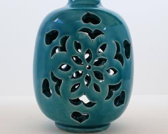 Turquoise Ceramic Vase, Home Decor, Turquoise Pottery, Handmade Ceramic Vase, Pottery Handmade, Decorative vase, Gift, modern vase, handmade