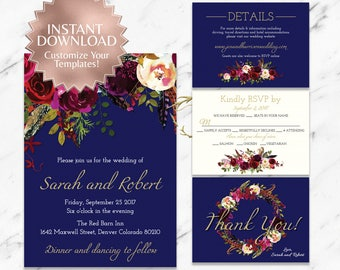 Marsala|Printable Wedding Invitation Suite|Floral Wedding Invitation|Boho Wedding|Digital Downloads|DIY Wedding|Navy|Burgundy|Garnet