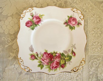 Vintage tuscan plate Moss rose plate Square plate Replacement plate Serving dish Vintage Bone China Cake Plate Tuscan Fine English