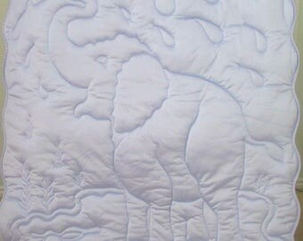 TRICOT QUILT Lavender Elephant Tricot Baby orToddler Tricot Blanket