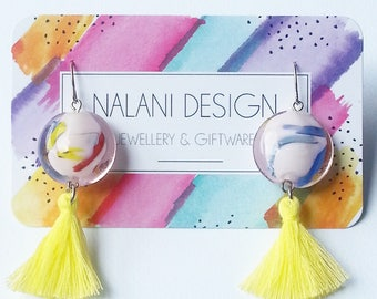 Colour Burst Tassel Earrings (Yellow)