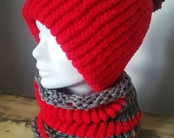 Hat with Pompom and matching, red and grey acrylic Choker