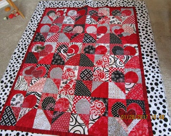 Lap Quilt Quilted, and Embroidered Hearts
