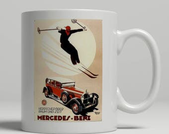 Mercedes Benz and ski jumper vintage poster printed on a new ceramic mug. Loving all things art deco and retro. UK Mug Shop. Merc Benz 1