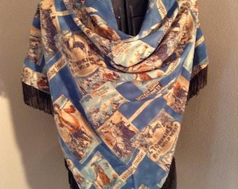 Yoakum western body scarf/wrap with fringe