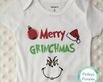 Merry Grinchmas Christmas baby Onesie, toddler, youth tshirt