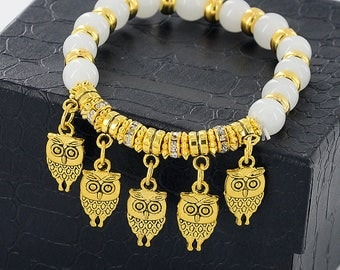 Owl Bracelet & Bangles Golden Crystal Beads