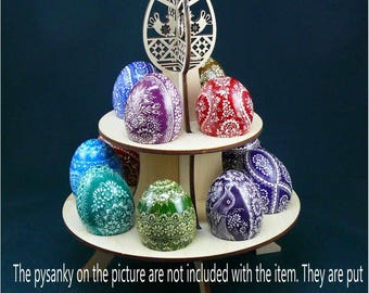 Real plywood pysanka stand for 12 Chicken Easter Egg. Pysanky Osterei