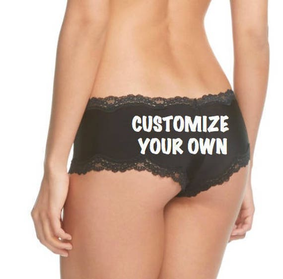 Personalized Birthday Party Gift, Black Panties, FAST SHIPPING, Customize for you or a friend