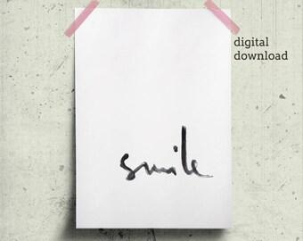 Affiche Design Smile Poster, Trending Now, Handwritten Prints, Positive Words Printable Brush Lettering Minimalist Print Word Smile