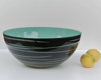 CATHRINEHOLM. Vintage Saturn BLACK & TEAL / 28 cm bowl in great condition / Grethe Prytz Kittelsen