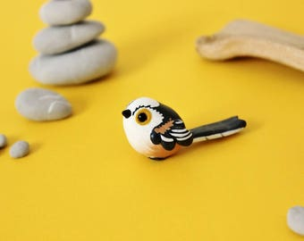 Long-tailed Tit Figurine - Handmade Polymer Clay Cute Bird