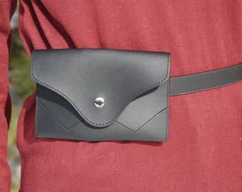 Black Waist Bag, Vegan Leather Belt Bag, Waist Bag, Bum Bag, Hip Bag, Fanny Pack, Burning Man, Belt Bag Leather, Festival Bag