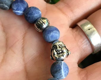 Matte sodalite with happy buda