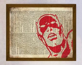 Daredevil Poster, Daredevil wall art, Dictionary Art print, Daredevil Wall Decor, Book Page Print, Dictionary Page Print, Superhero Art