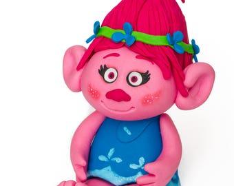 3D Sugarpaste Princess Poppy from Trolls Cake Topper