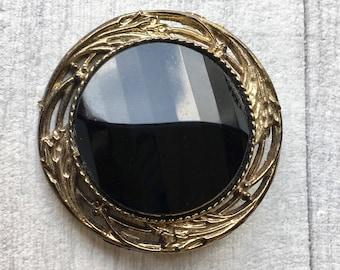 costume brooch, black and gold colour brooch, 1980's brooch, plastic brooch, retro brooch, vintage brooch, black brooch, gold brooch