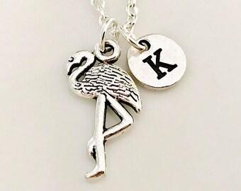 Flamingo necklace, Flamingo jewelry, silver pink flamingo necklace, Bird jewelry, Zoo jewelry, Personalized necklace