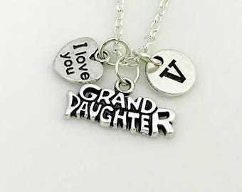 Granddaughter necklace, Granddaughter gift, Grand Daughter jewelry, Granddaughter birthday gift, Personalized Necklaces, I love you necklace