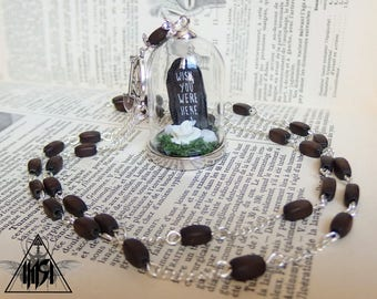 Globe cemetery headstone Rosary necklace