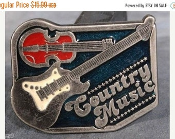 Country Music  Fiddle & Guitar Pewter Belt Buckle 1.75x 2.50 inches for a 1 inch belt