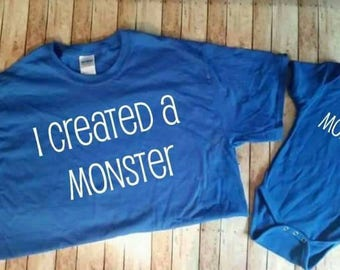 I've created a monster daddy and me matching shirt set for father's day gifts