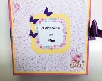 Baby Girl Memory Book, Baby Scrapbook Album, Personalised Baby Photo Book, Baby Girl Photo Album, Baby's First Year Book, Keepsake Album