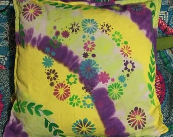 Peace Tie dye cotton cushion