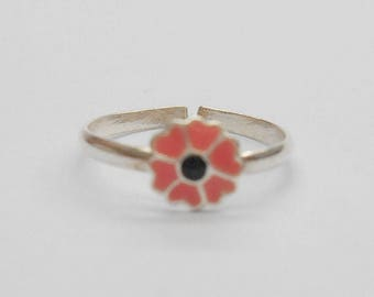Toe Ring, Sterling Toe Ring, Enamel Toe Ring, Silver Toe Ring, Flower Toe Ring, Sterling Silver Enamel Salmon Pink Flower Toe Ring #1133