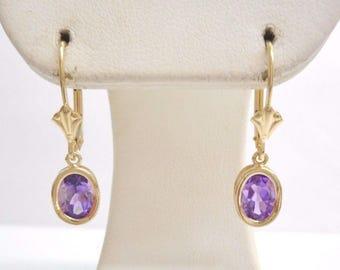 Amethyst Earrings, Gold Earrings, Vintage Earrings, 14K Yellow Gold 1.7 CTW Oval Amethyst Dangle Drop Leverback Earrings #3523