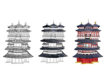 Buddha Tooth Relic Temple & Museum Watercolour Prints
