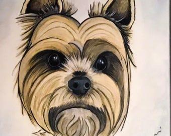 CUSTOM Pet Portrait 12x12 Acrylic on Canvas