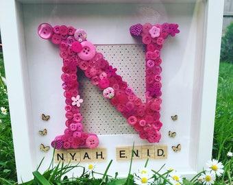 Personalised letter frame, birthday gift, christening gift, child's initial, child's bedroom