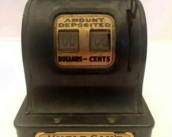 Old Vintage Antique Uncle Sam's NICKEL Register Tin Mechanical Bank New York