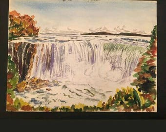 Clowes, Original Water Color Painting, c1950 Landscape Waterfall Autumn Woods