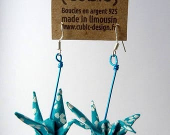 Origami crane turquoise earrings