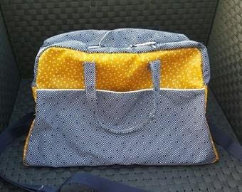 ON order only large diaper bag, mustard and blue colors Navy, and adjustable shoulder strap