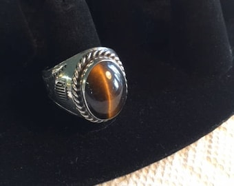 Men's sterling silver and tiger's eye ring