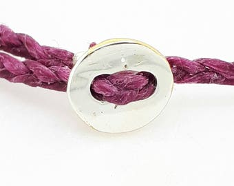 Best Friends Cord Bracelet, Adjustable Thread Bracelet, Pink Travel Bracelet, Silver Button Bracelet, Friendship Bracelet, Best Friend Gift