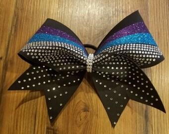 Competition rhinestone cheer bow,glitter cheer bow,sparkly cheer bow,bling cheer bow,cheerleading,cheerleader, black aqua purple cheer bow