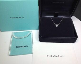 """Tiffany & Co. Designer Platinum 18"""" 1.01 CTW Diamond Solitaire Pendant Necklace"""