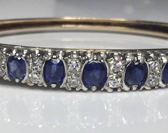 Antique Victorian Era 14K Yellow Gold 4 CTW Diamond & Sapphire Bangle Bracelet