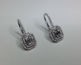 Estate 18K White Gold 1.65 CTW Diamond Dangle Earrings 6 Grams
