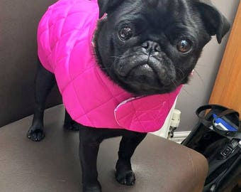 Unique Pink Handmade Quilted Dog Coat.