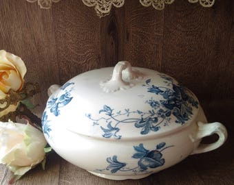 "PERFECT: ENGLISH TUREEN by Allertons England, superb blue white vegetable tureen, ""Molfino"" design Allerton pottery, vintage kitchenalia"