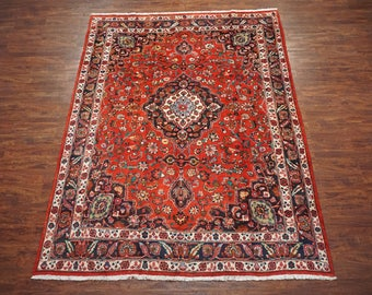 9X12 Persian Mashad Antique Area Rug Hand-Knotted 1940's Wool with Abrash (8.7 x 11.10)