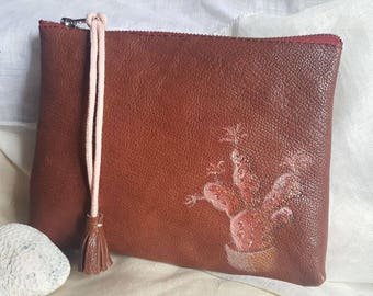 Brown leather handbag or clutch with a handpainted cactus