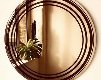 Undas Bronze Wall Round Mirror with black circles